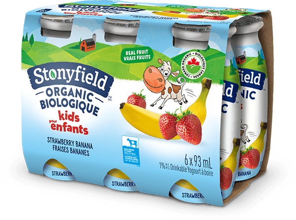 Stonyfield Organic Kids Drinkable Yogourt Strawberry Banana