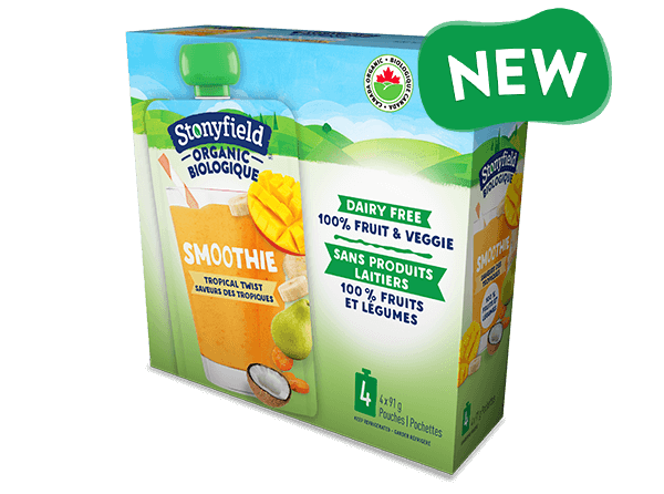 NEW Stonyfield Organic Fruit & Veggie Pouch Tropical Twist Smoothie